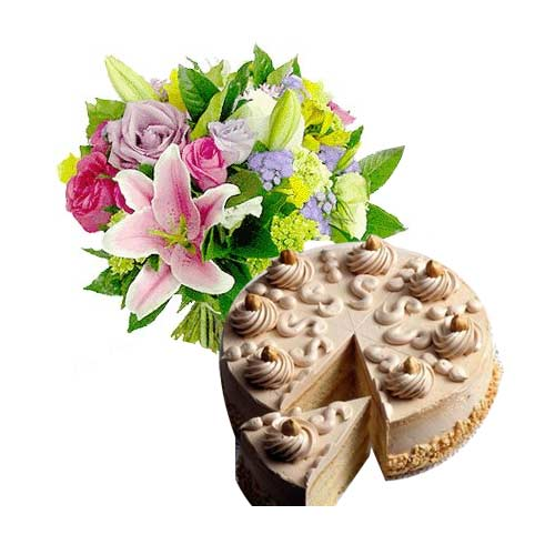Finest Always Close to My Heart Mixed Flower Bouquet with Cake