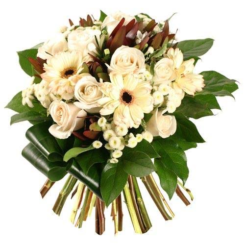 Luminous Bouquet of White Mixed Flowers