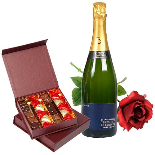 Delicate Temptation with Chocolates, Champagne and Red Rose