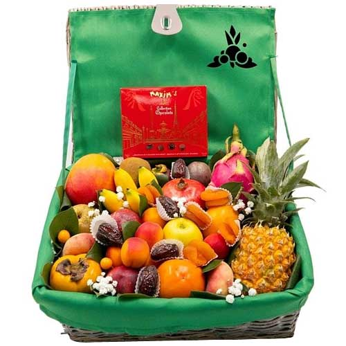 Delicious Basket of Fruits with Chocolates