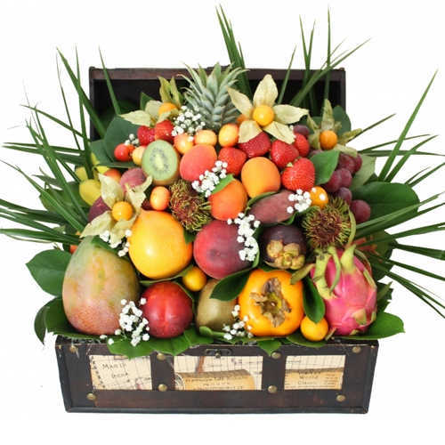 Exotic Celebrate Happy Holiday Fruit Gourmet Basket
