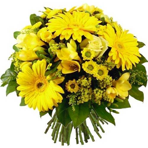 Eye-Catching Hearth Side Celebration Bouquet of Yellow Flowers